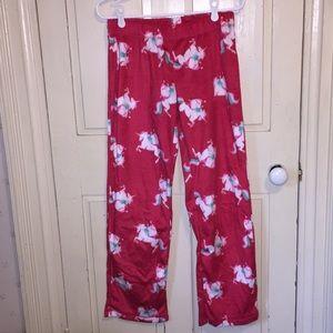 Flirtitude red unicorn and Santa pajama bottoms